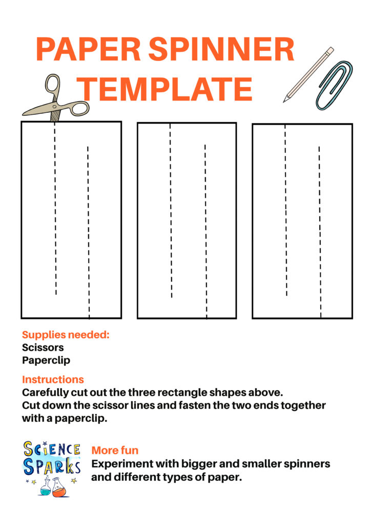 template for making simple paper spinners for a gravity science project