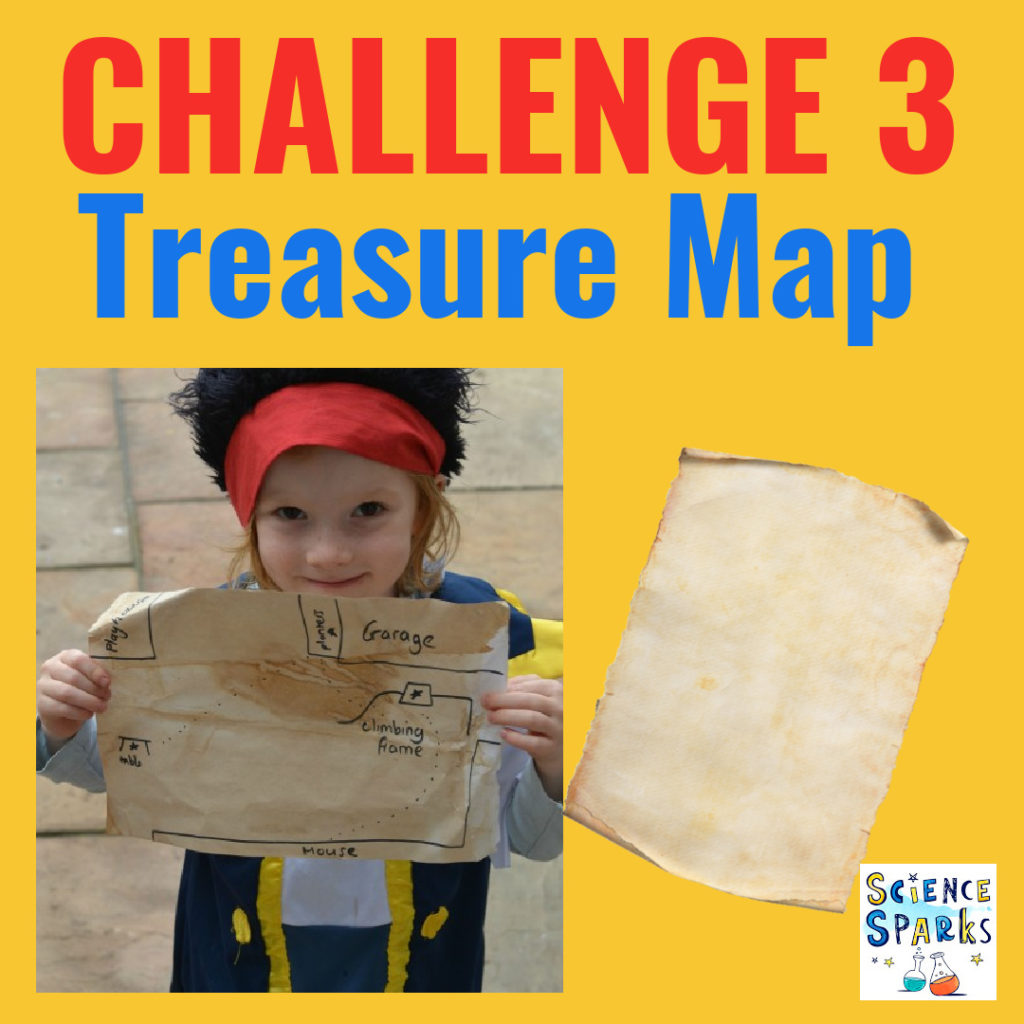 Image of a child dressed as a pirate holding a homemade treasure map.