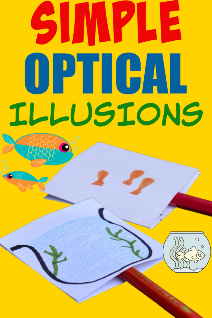 Easy optical illusions with a pencil and cardboard. Make the fish appear inside the fish tank