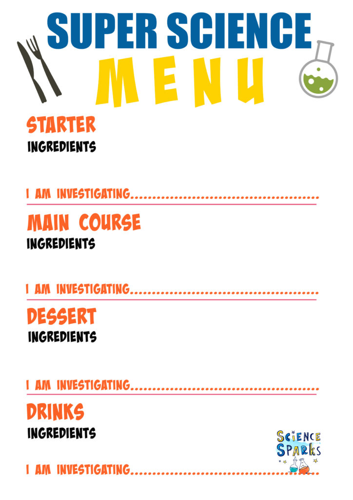Super science menu planner for a meal of science experiments