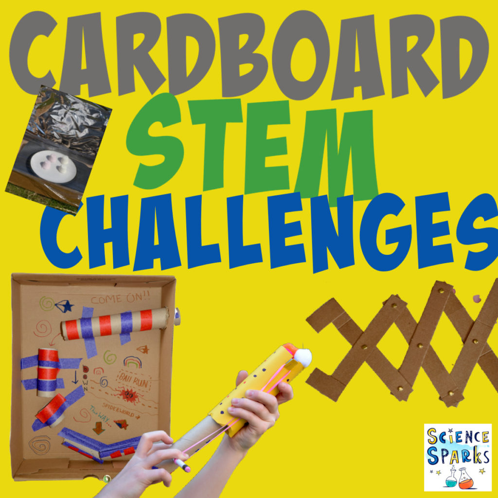 Collection of cardboard STEM challenges, including a marble run, slingshot and articulated grabber