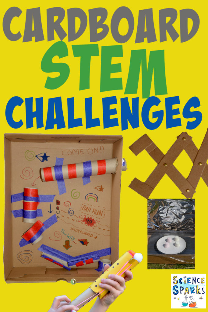 Image of a collection of simple cardboard STEM Challenges for kids