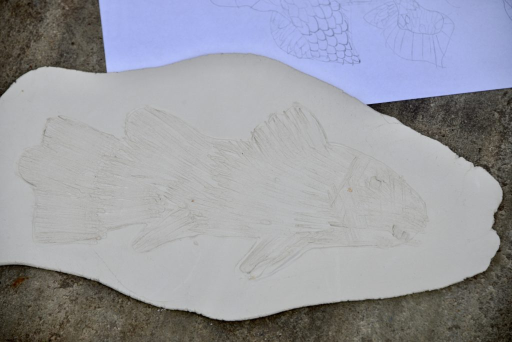 Clay model of a coelacanth fish fossil