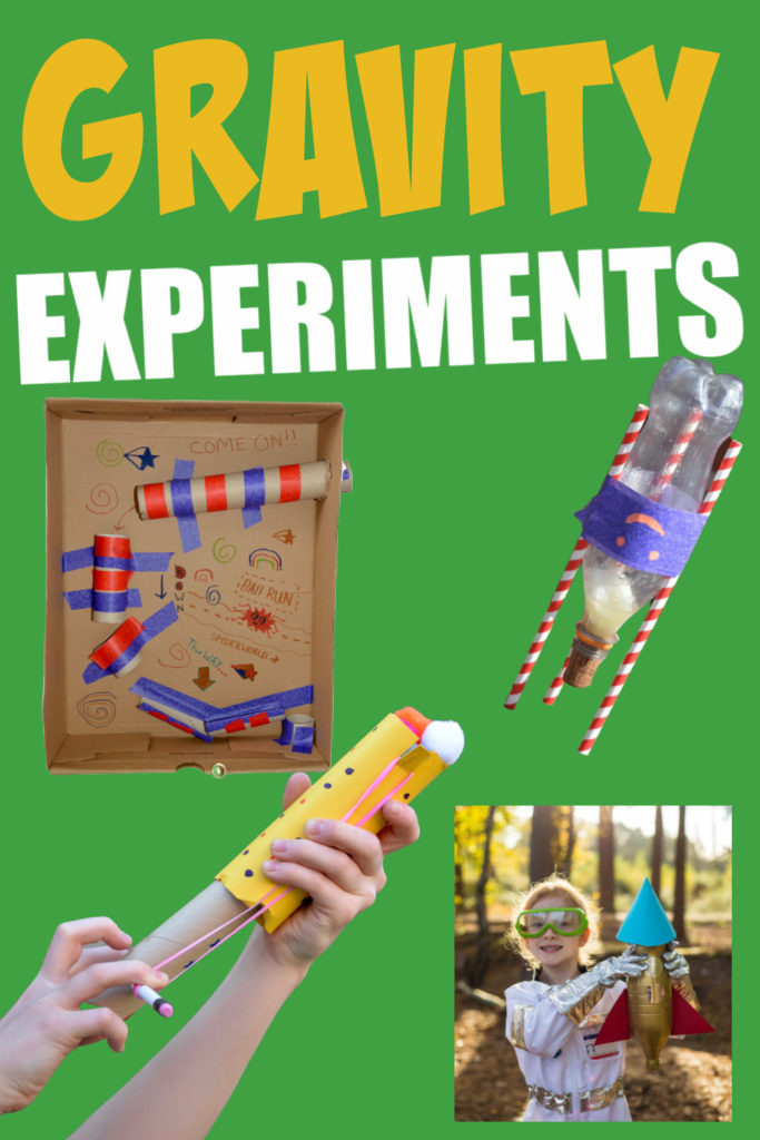 collection of gravity experiments including a slingshot, marble run, mini bottle rocket and water powered bottle rocket
