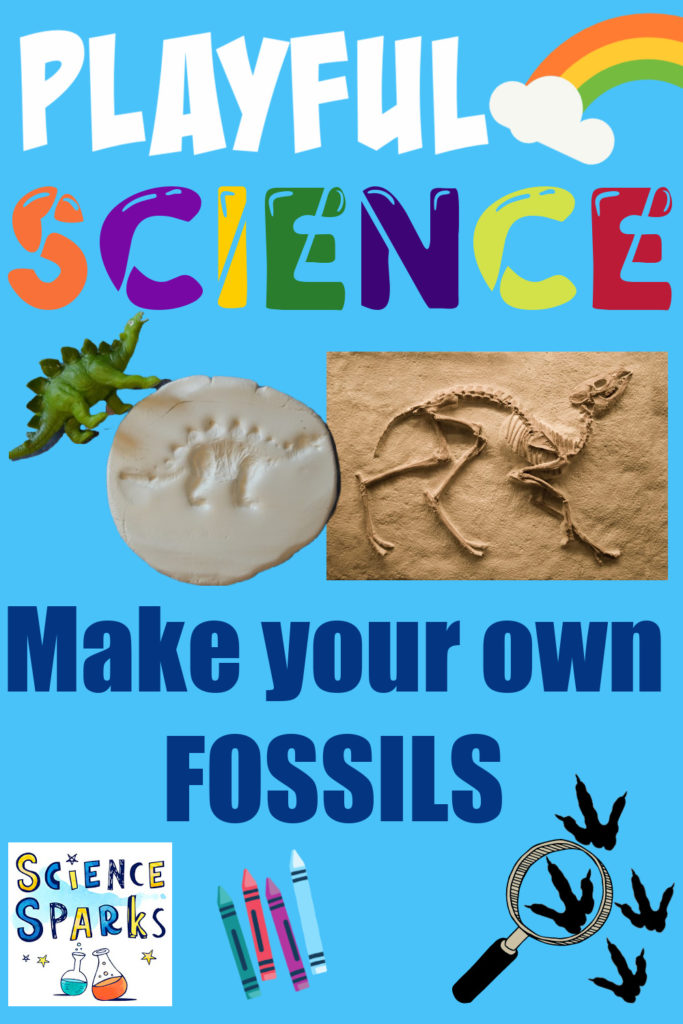 Image of a fossil of a dinosaur in clay and a real dinosaur fossil for learning about fossils.