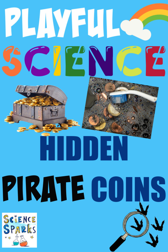 Image of coins in bubble water for a pirate science experiment