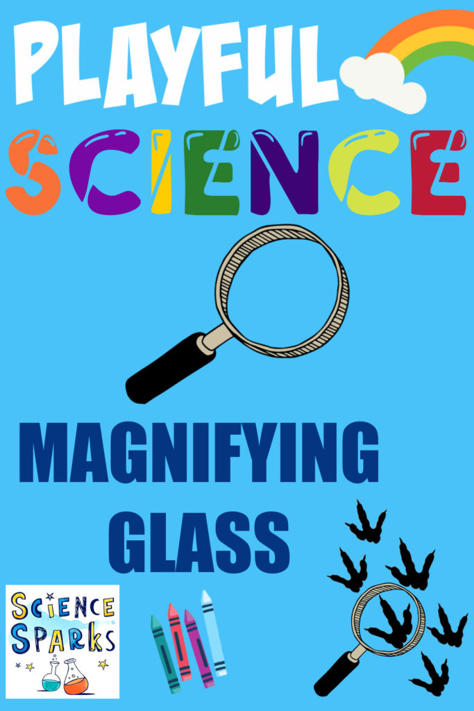 Image of a cartoon magnifying glass for a preschool science experiment.