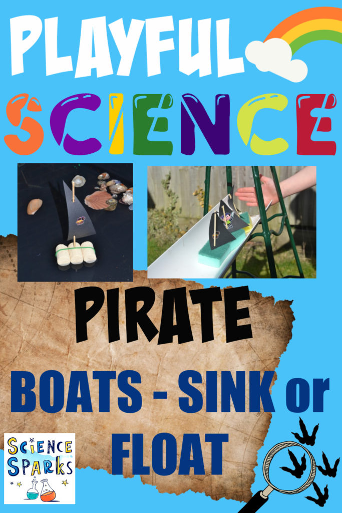 Boats made from cork and washing up sponges for a pirate themed science activity