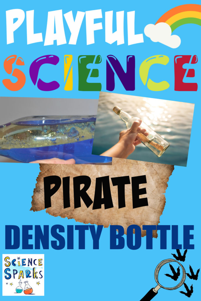 Density bottle made with blue water and oil