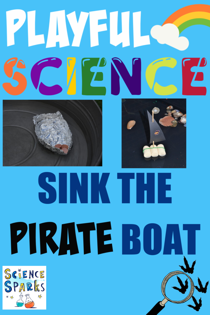 Sink the boat pirate STEM challenge. Image of a small boat made from foil for a STEM Challenge