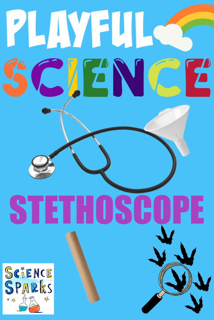 Image of a stethoscope for an activity using a cardboard tube and funnel for a doctor themed activity.