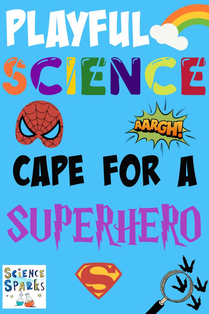 Cape for a superhero science experiment - image shows cartoon superhero masks