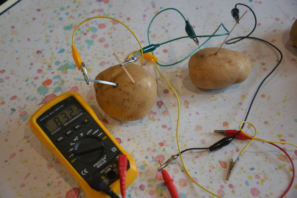 Potato battery with 2 potatoes and a voltmeter showing the current passing through
