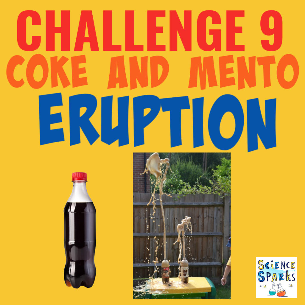 Coke and mento reaction - two bottles of cola and mentos create a sticky explosion for a science challenge