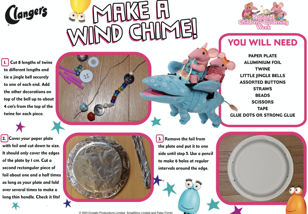 Image of instructions for making a wind chime - clangers themed