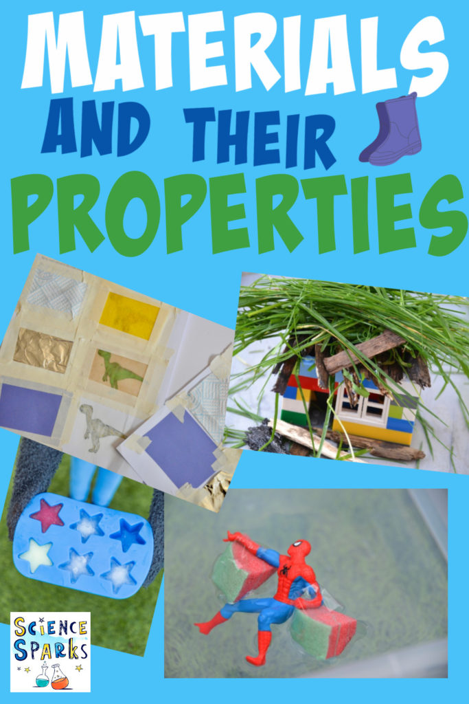 Collage of images for materials experiments for kids. Includes a LEGO house with a grass roof, ice cubes in a tray and dinosaur images on paper covered with different materials.