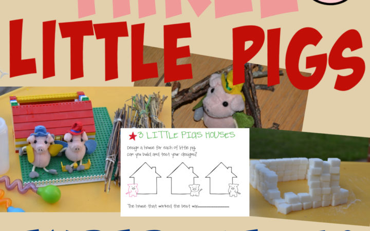 Three little pigs STEM challenge. LEGO house, stick house and more!