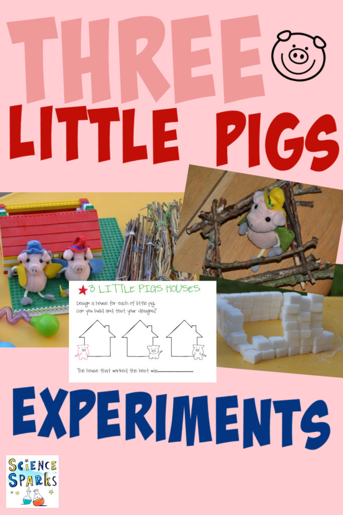 Collage of 3 little pig houses made from sticks, brick and sugar cubes.