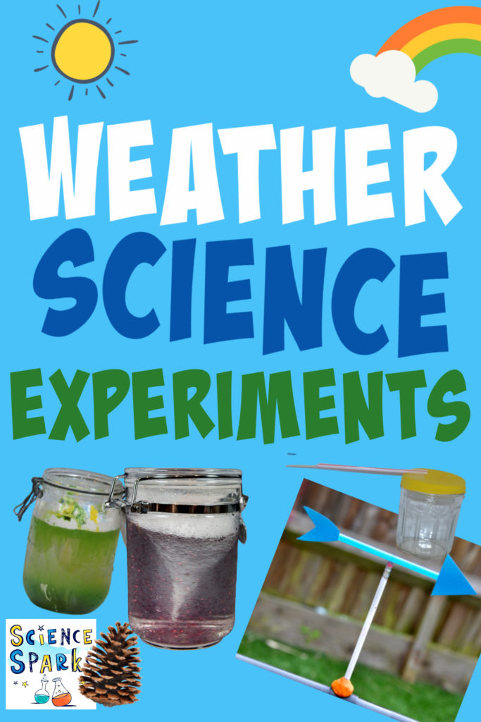 Collage of weather science activities, including a rain cloud in a jar, a tornado in a jar, wind vane and barometer.