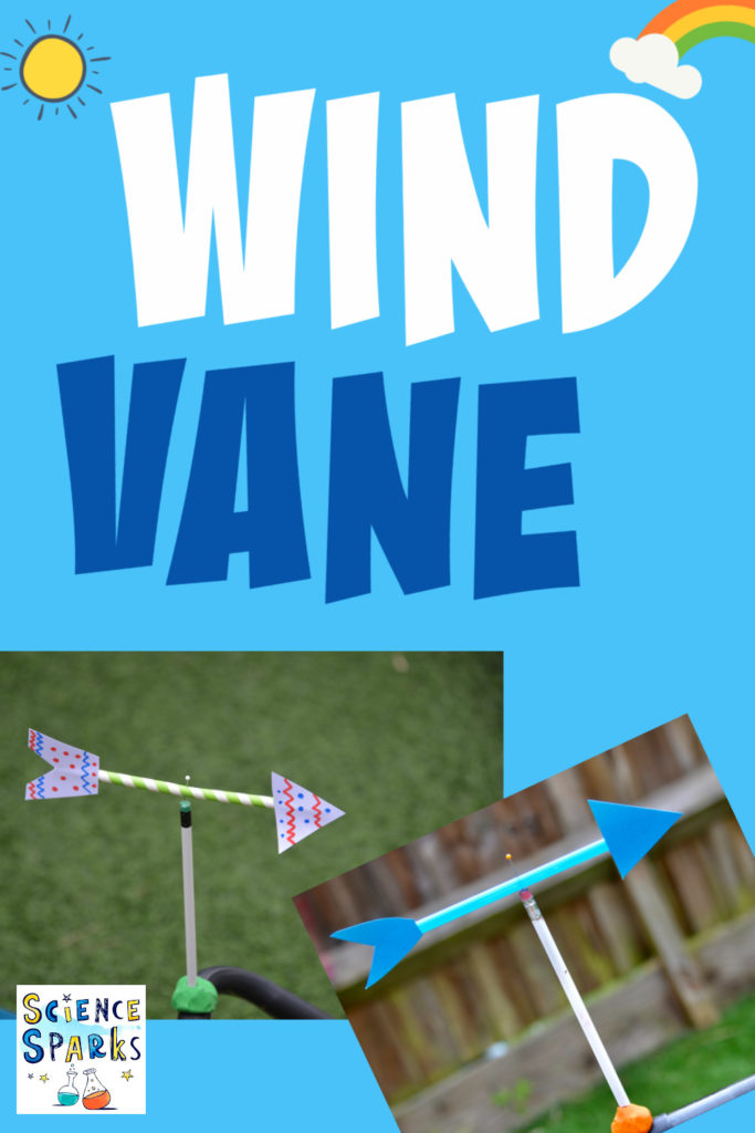 DIY wind vane made from a pencil, card and a pin