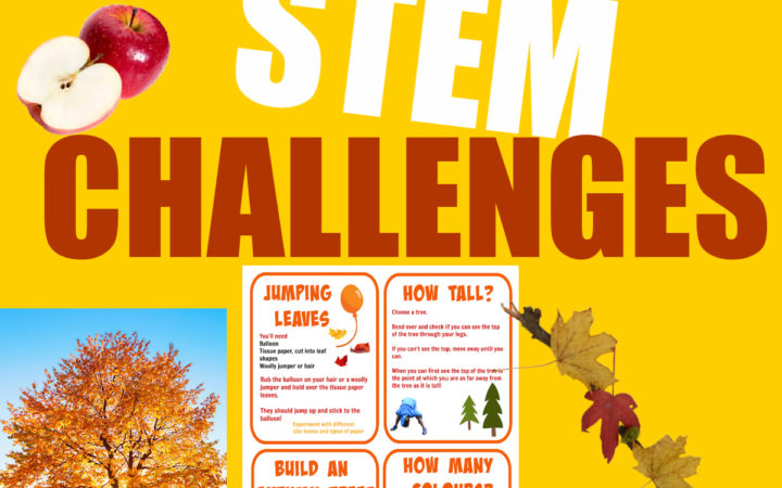 image of free printable autumn STEM challenges for kids.