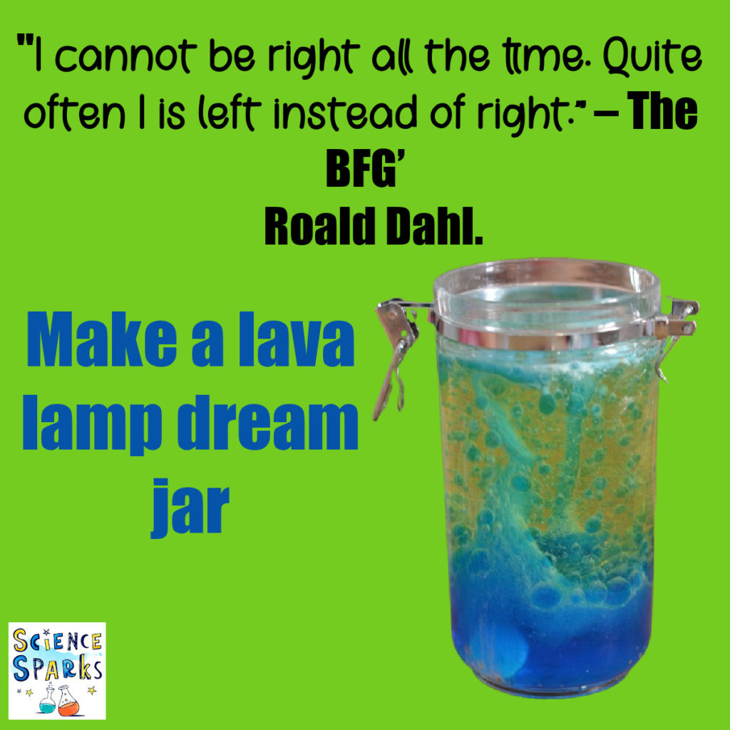 Image of a lava lamp and a quote from The BFG.