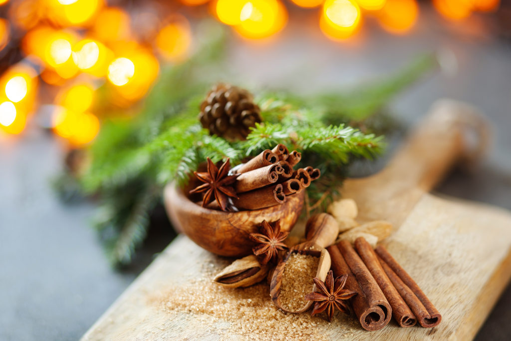 Image of Christmas spices on a breadboard