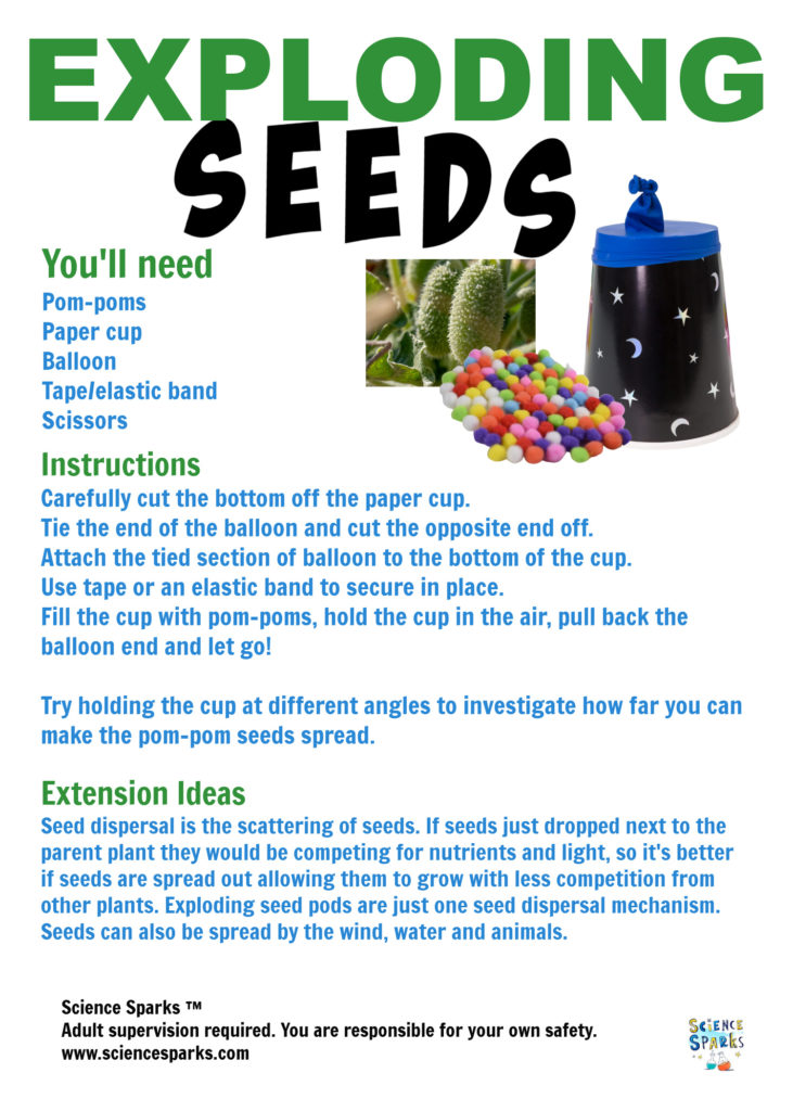 Exploding seed dispersal device instructions