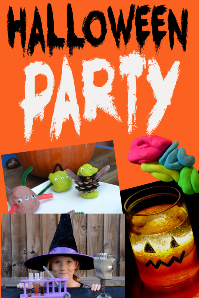 collage of easy ideas for a Halloween party, includes play dough monsters, a pumpkin lava lamp and a model brain!
