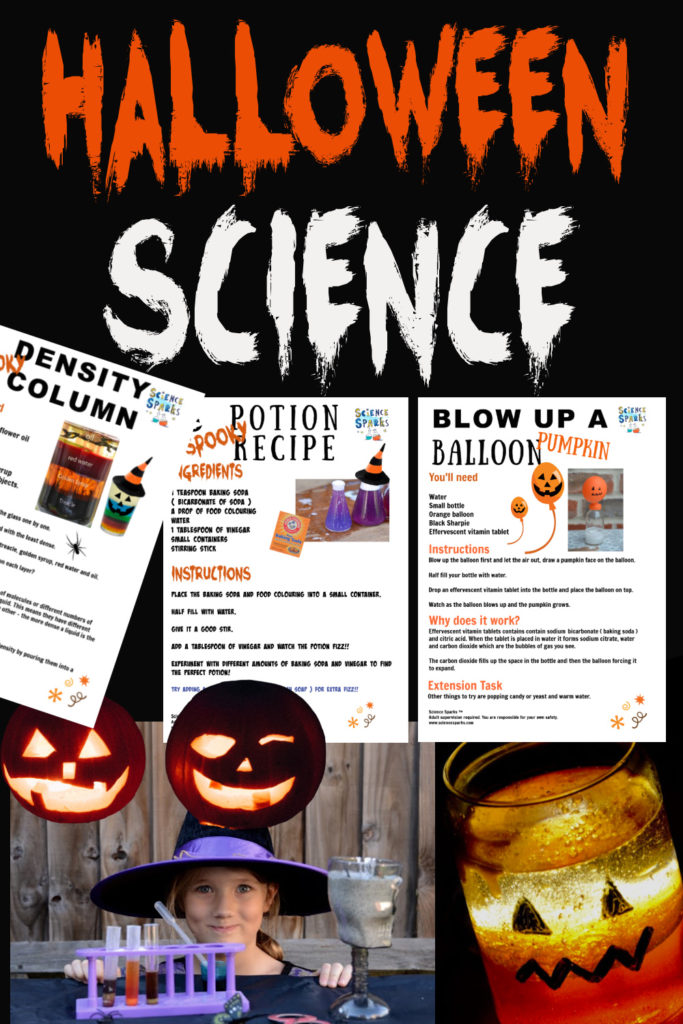 Collage of Halloween science printable experiments, a pumpkin lava lamp, lit pumpkins and lots more Halloween themed science experiments