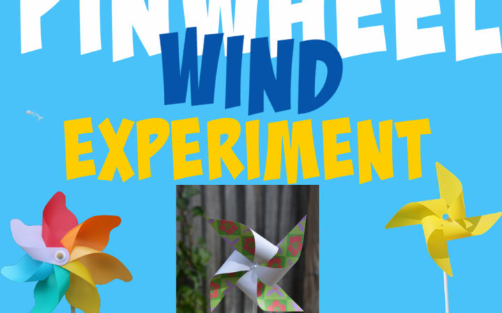 Image shows a pinwheel made from a pencil and paper for a wind science experiment.