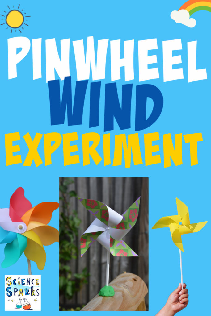 Image shows a pinwheel resting on top of a wooden log for use in a wind science experiments