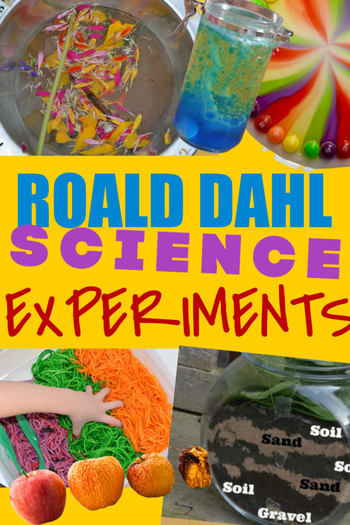 Collage of a potion, wormery, lava lamp, rotting apples and more ideas for Roald Dahl themed science experiments for kids