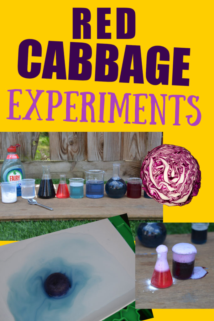 Collage of different red cabbage indicator potions, different colours, fizzy ones and even red cabbage ice cubes