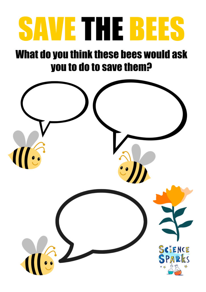 Worksheet with speech bubbles to fill in with ideas for saving bees