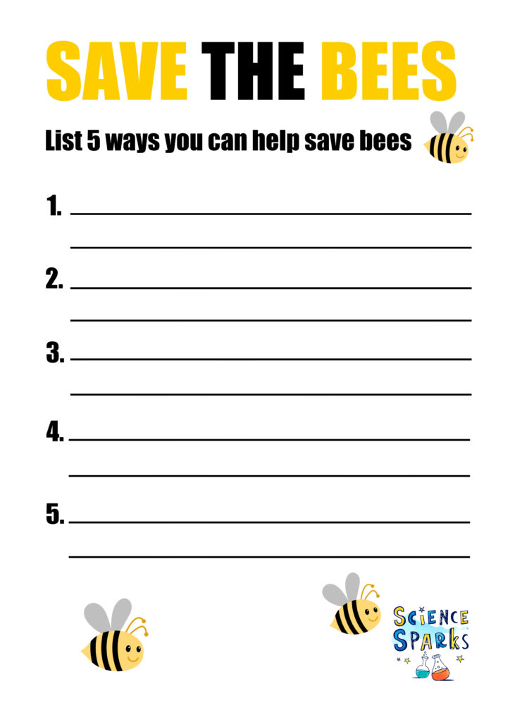 Image of a free downloadable Save the Bees sheet, as part of an activity to discover why we need bees!