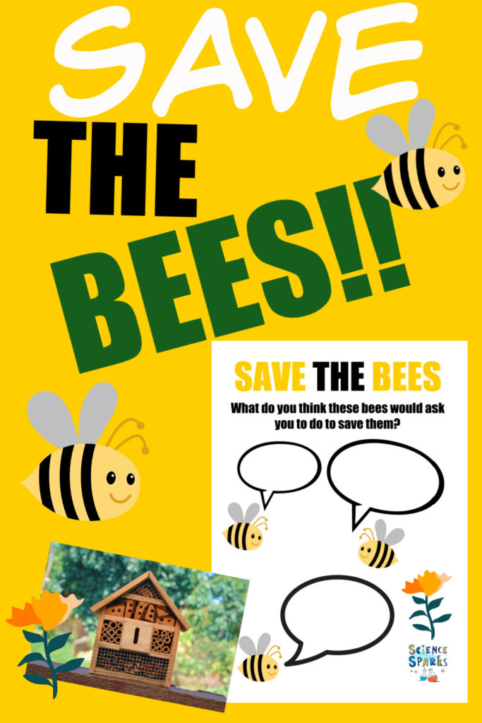 Image of a cartoon bee, a 'Save the Bees' worksheet and a bee/bug house for finding out why we need bees.