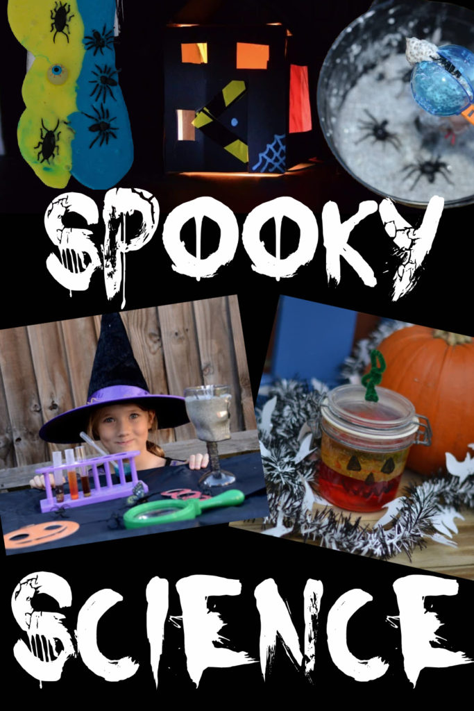 collage of slime, witchy potions and pumpkin lava lamps as part of a collection of great science experiments for Halloween