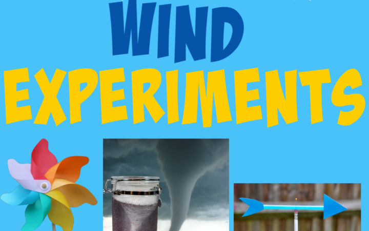 collage of a pinwheel, storm in a jar and homemade weather vane for learning about the wind.