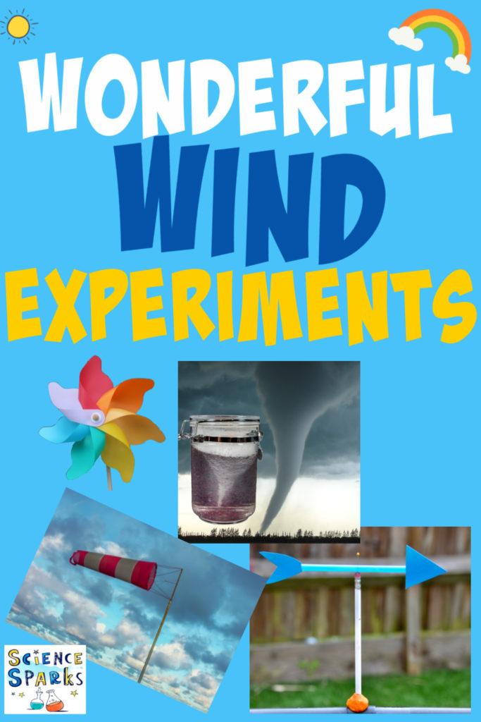Collage of a wind sock, a DIY wind vane and a tornado in a jar.