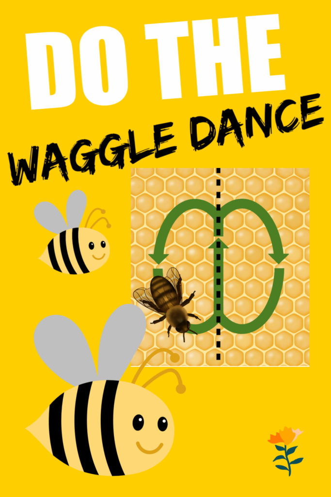 Cartoon of a bee doing a waggle dance as a bee themed science activity