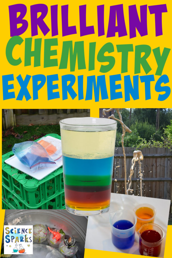 Collage of fun chemistry experiments for kids, includes a density jar, coke and mento eruption, exploding sandwich bags and ice excavations
