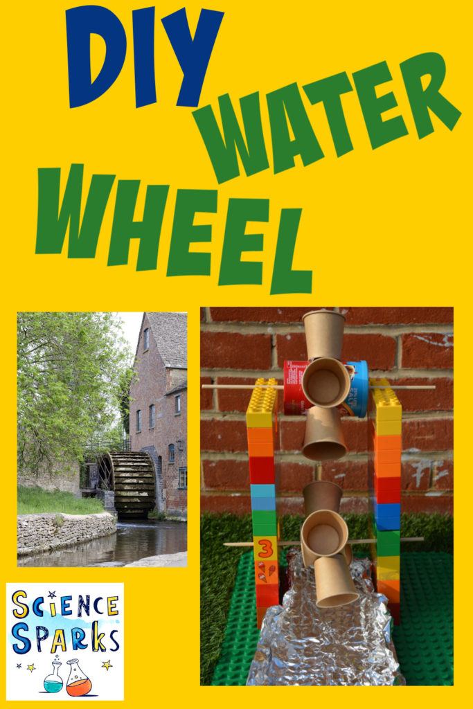 Image of a water wheel made with paper cups and a frame