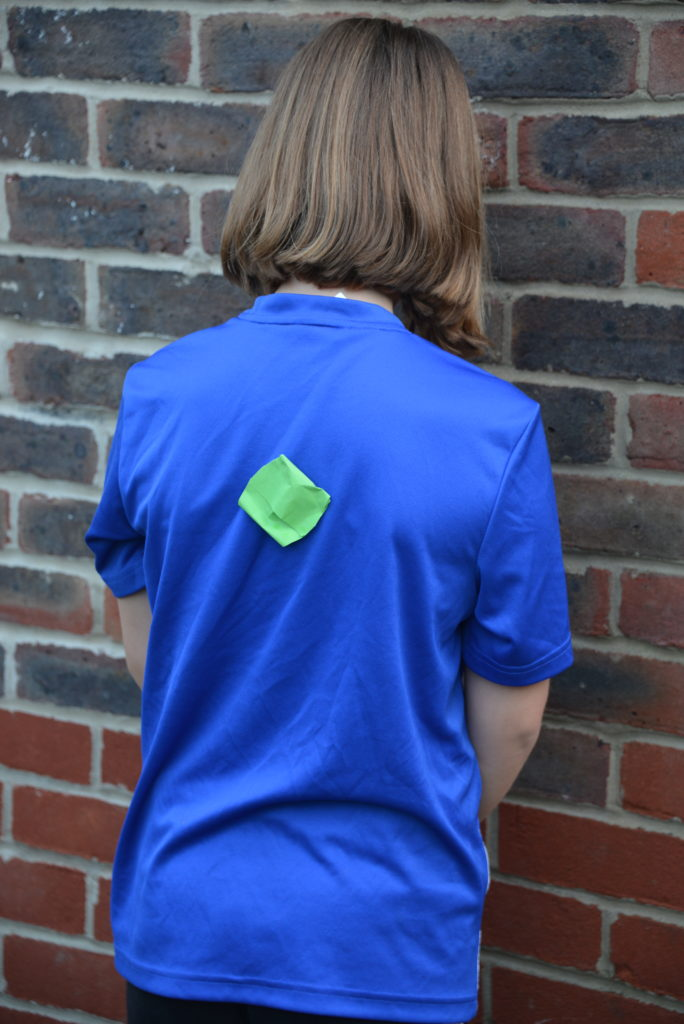 sticky seed attached to a girls t shirt as part of a seed dispersal activity