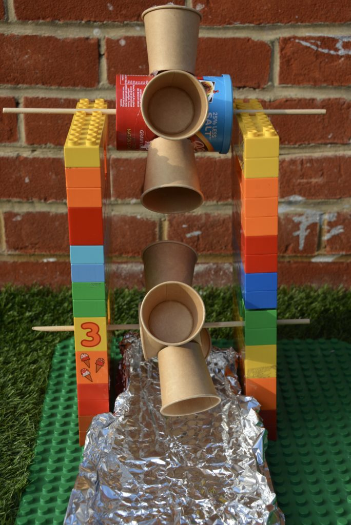 DIY water wheel made with DUPLO, a great school STEM project or challenge